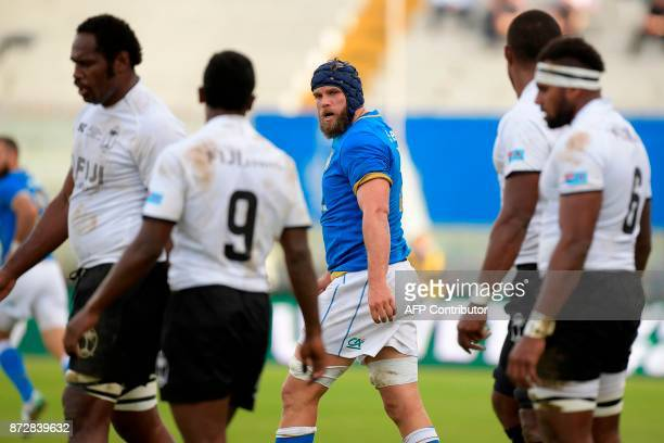 Italy's lock Dean Budd reacts during a rugby union test match between Italy and Fiji at the Angelo Massimino Stadium in Catania on Novemver 11 2017 /...