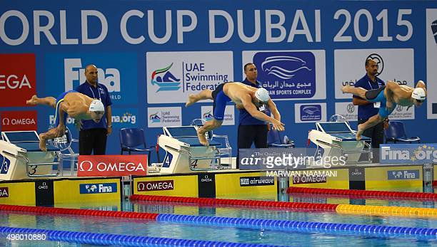 Italy's Luca Leonardi France's Jeremy Stravius and Serbia's Velimir Stjepanovic compete in men's 100m Freestyle final during the FINA World Swimming...