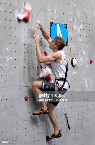Italy's Ludovico Fossali winner of the Mens Speed climb during the IFSC Climbing World Cup at the Edinburgh International Climbing Arena
