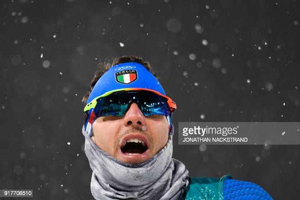 Italy's Maicol Rastelli competes during the men's crosscountry individual sprint classic quarterfinal at the Alpensia cross country ski centre during...