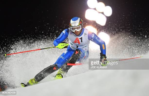Italy's Manfred Moelgg competes during the first run of the men's slalom event at the FIS Alpine World Cup in Schladming, Austria on January 23,...