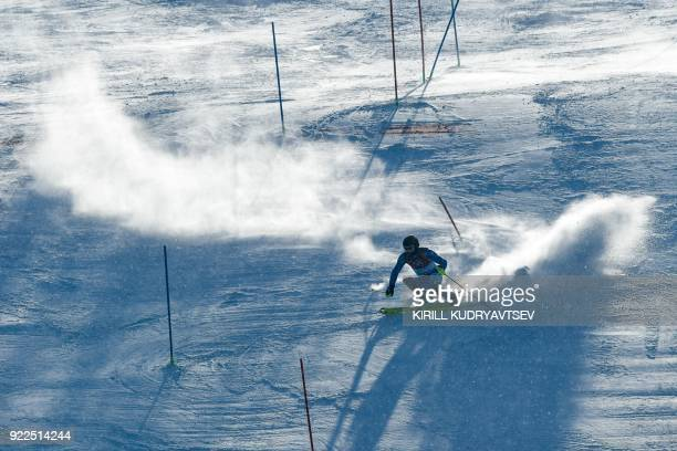 TOPSHOT Italy's Manfred Moelgg competes in the Men's Slalom at the Yongpyong Alpine Centre during the Pyeongchang 2018 Winter Olympic Games in...