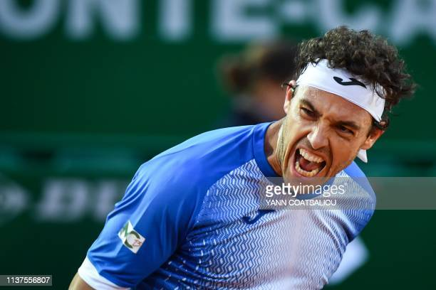 Italy's Marco Cecchinato celebrates after winning his tennis match against Switzerland's Stan Wawrinka on the day 4 of the MonteCarlo ATP Masters...