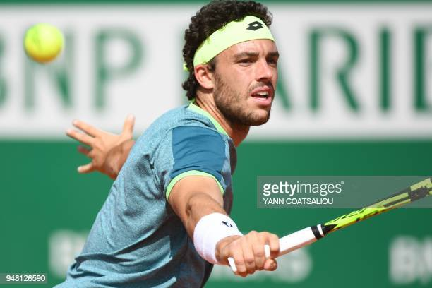 Italy's Marco Cecchinato hits a return to Canada's Milos Raonic during their men's single tennis match at the MonteCarlo ATP Masters Series...