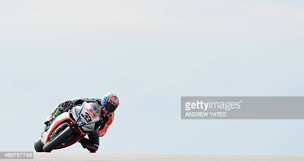 Italy's Marco Melandri competes during the second race of round 5 of the FIM World Superbike Championship at Donington Park in Derby in the East...