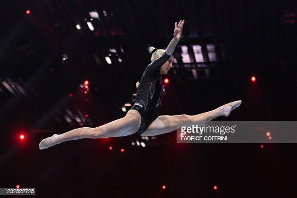 Italy's Martina Maggio competes in the Women's beam apparatus final of the 2021 European Artistic Gymnastics Championships at the St Jakobshalle, in...