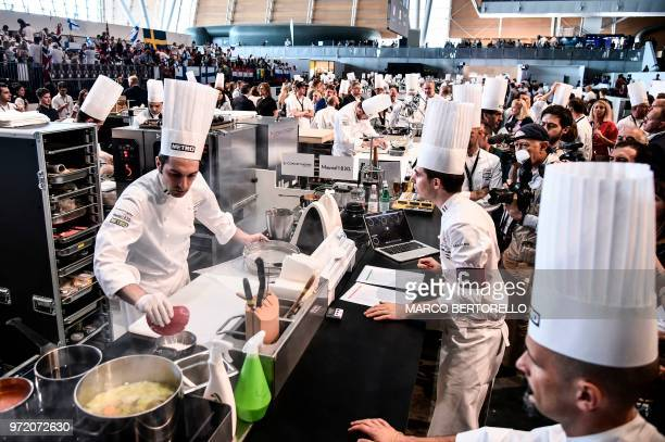 Italy's Martino Ruggieri competes during the event of the Bocuse d'Or Europe 2018 International culinary competition on June 12 2018 in Turin