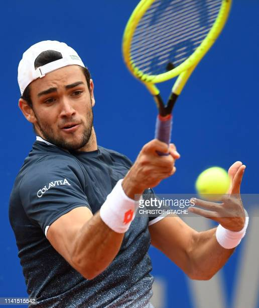 Italy's Matteo Berrettini returns the ball to Chile's Christian Garin during their final match at the ATP tennis BMW Open in Munich southern Germany...