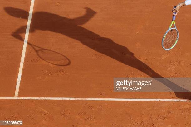 Italy's Matteo Berrettini serves to Spain's Alejandro Davidovich Fokina during their second round singles match on day three of the Monte-Carlo ATP...