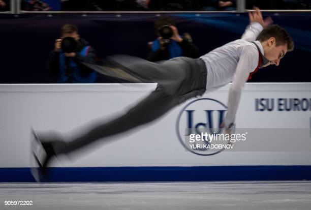 Italy's Matteo Rizzo performs his routine in the men's short program at the ISU European Figure Skating Championships in Moscow on January 17 2018 /...