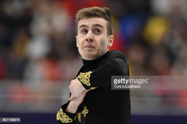 Italy's Matteo Rizzo performs in the men's free skating at the ISU European Figure Skating Championships in Moscow on January 19 2018 / AFP PHOTO /...