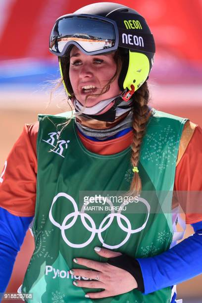 Italy's Michela Moioli celebrates after winning the women's snowboard cross big final at the Phoenix Park during the Pyeongchang 2018 Winter Olympic...