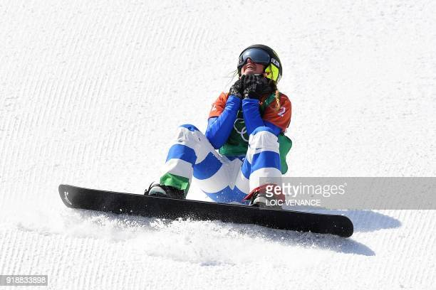 Italy's Michela Moioli celebrates as she wins the women's snowboard cross event at the Phoenix Park during the Pyeongchang 2018 Winter Olympic Games...