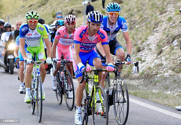 Italy's Michele Scarponi climbs the Giau during the 17th stage of the Giro d'Italia going from Falzes to Cortina d'Ampezzo on May 23 2012 in Cortina...