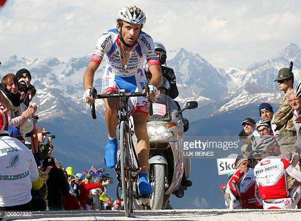 Italy's Michele Scarponi rides to finish tenth in his individual up hill time trial in the 16th stage in the 93rd Giro d'Italia from San Vigilio di...