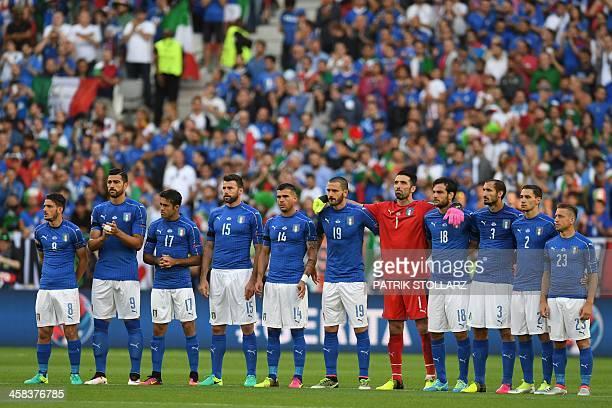 Italy's midfielder Alessandro Florenzi Italy's forward Pelle Italy's forward Citadin Martins Eder Italy's defender Andrea Barzagli Italy's midfielder...