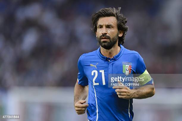 Italy's midfielder and captain Andrea Pirlo looks on during a friendly game Portugal against Italy at the Stade de Geneve on June 16 2015 in Geneva...