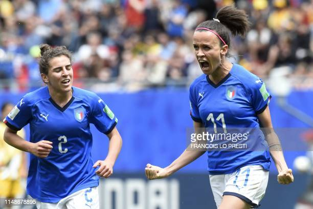 Italy's midfielder Barbara Bonansea celebrates after scoring a goal during the France 2019 Women's World Cup Group C football match between Australia...