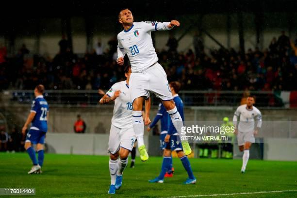 Italy's midfielder Federico Bernardeschi celebrates after scoring during the Euro 2020 Group J qualification football match between Liechtenstein and...