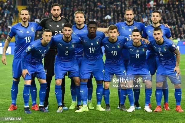 Italy's midfielder Federico Bernardeschi Italy's defender Cristiano Piccini Italy's forward Moise Kean Italy's midfielder Nicolo Barella Italy's...