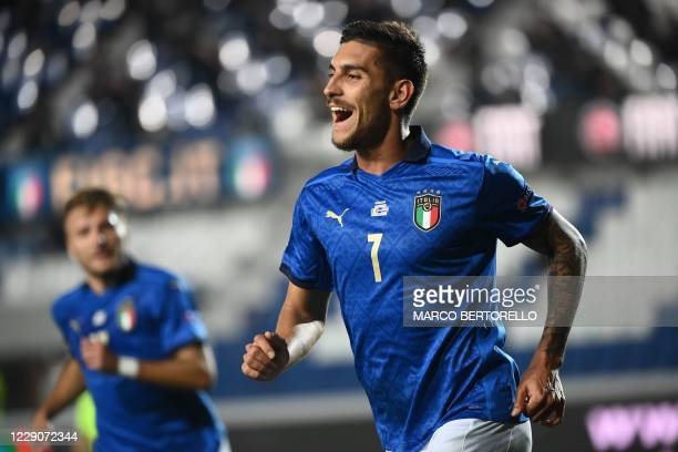 Italy's midfielder Lorenzo Pellegrini celebrates after scoring a goal during the UEFA Nations League Group A1 football match between Italy and the...