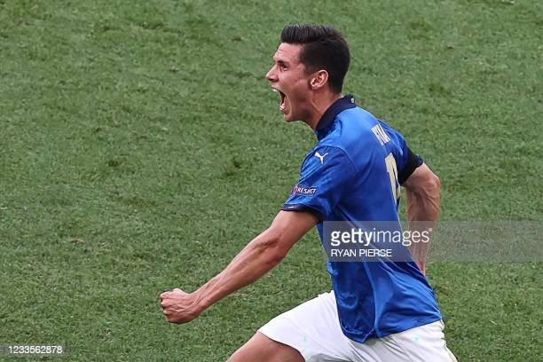 Italy's midfielder Matteo Pessina celebrates after scoring the opening goal during the UEFA EURO 2020 Group A football match between Italy and Wales...