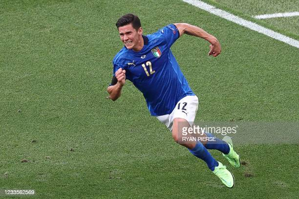 Italy's midfielder Matteo Pessina runs to celebrate his opening goal during the UEFA EURO 2020 Group A football match between Italy and Wales at the...