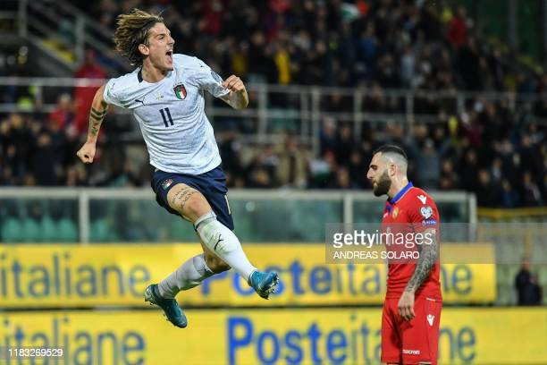Italy's midfielder Nicolo Zaniolo celebrates after scoring his second goal during the Euro 2020 1st round Group J qualifying football match Italy v...