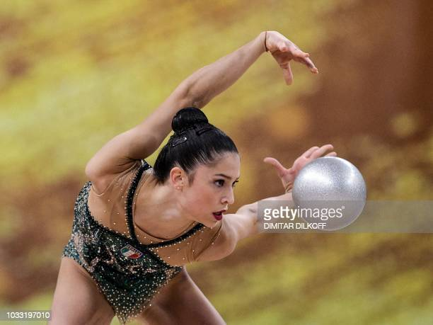 Italy's Milena Baldassarri performs during the individual allaround final at the World Rhythmic Gymnastics Championships at Arena Armeec in Sofia on...
