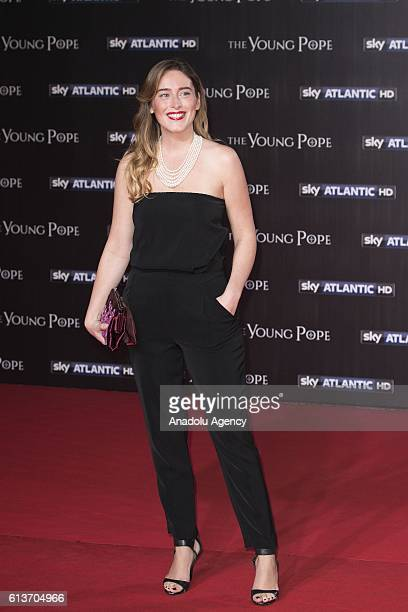 Italy's Minister for Constitutional Reforms Elena Boschi poses during red carpet ceremony of 'The Young Pope' premiere at The Space Cinema Moderno in...