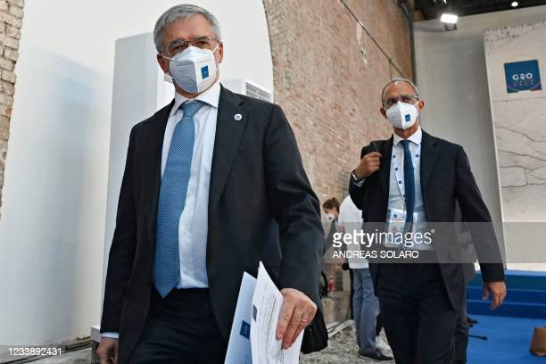 Italy's Minister of Economy and Finance Daniele Franco leaves the press conference of the G20 High Level Independent Panel during the G20 finance...