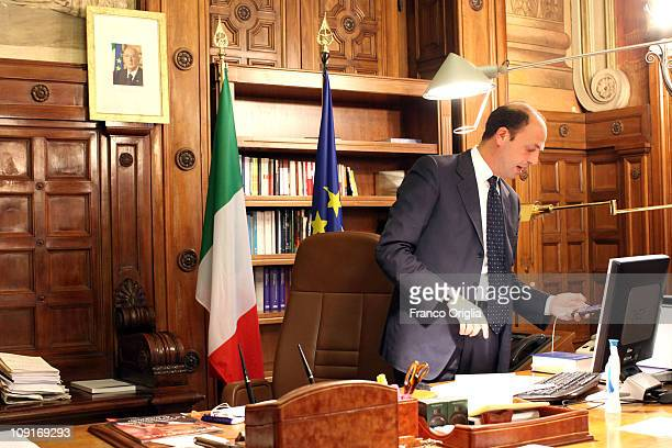 Italy's minister of Justice in the Berlusconi Cabinet Angelino Alfano works in his office of the Ministry of Justice on June 9 2010 in Rome Italy