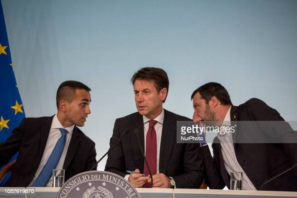 Italy's Minister of Labor and Industry Luigi Di Maio italian Prime Minister Giuseppe Conte and Italy's Deputy Interior Minister Matteo Salvini hold a...