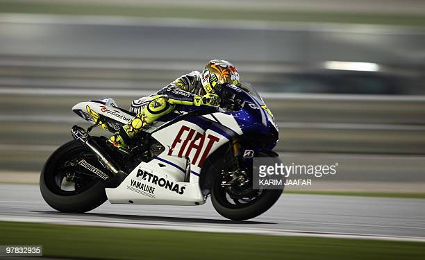 Italy's MotoGP rider Valentino Rossi of Fiat Yamaha Team races during the final pre-season test at the Losail International Circuit in the Qatari...