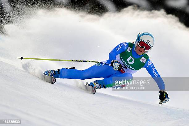 Italy's Nadia Fanchini competes during the women's downhill event of the 2013 Ski World Championships in Schladming, Austria on February 10, 2013....