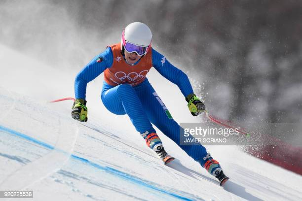 Italy's Nadia Fanchini takes part in the 2nd training of the Alpine Skiing Women's Downhill at the Jeongseon Alpine Center during the Pyeongchang...