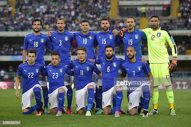 Italy's nationa football team players midfielder Marco Parolo defender Giorgio Chiellini midfielder Thiago Motta defender Andrea Barzagli defender...