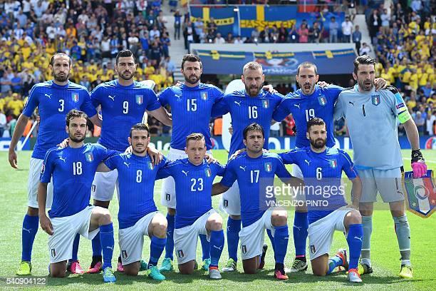 Italy's national football players Italy's midfielder Marco Parolo Italy's midfielder Alessandro Florenzi Italy's midfielder Emanuele Giaccherini...