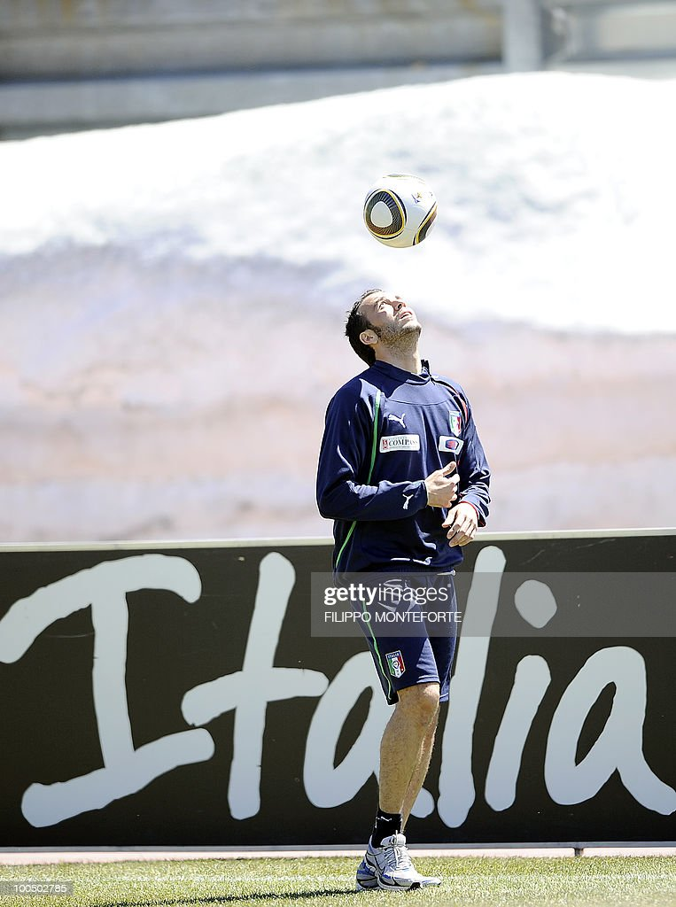 Italy's national football team forward Gianpaolo Pazzini takes part in a training session in Sestriere on May 25, 2010. The Italian squad started their preparations in the Alpine resort of Sestriere before departing for the FIFA World Cup 2010 in South Africa. AFP PHOTO / Filippo MONTEFORTE