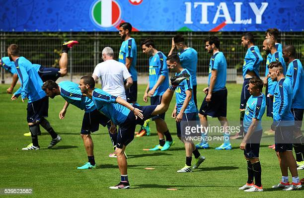 Italy's national football team gather during a training session in Montpellier on June 12 prior to the Euro 2016 football match against Belgium in...