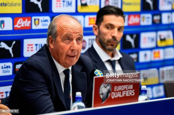 Italy's national football team head coach Giampiero Ventura and team captain Gianluigi Buffon address a press conference on the eve of the WC 2018...