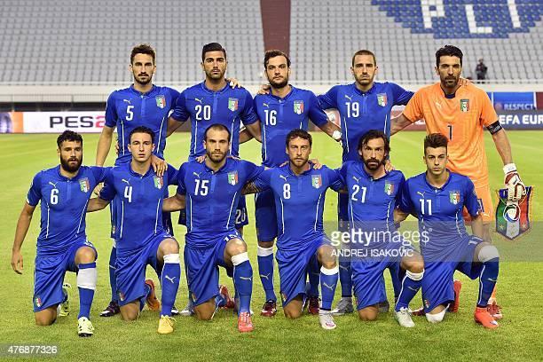 Italy's national football team members defender Davide Astori forward Graziano Pelle midfielder Marco Parolo defender Leonardo Bonucci goalkeeper...