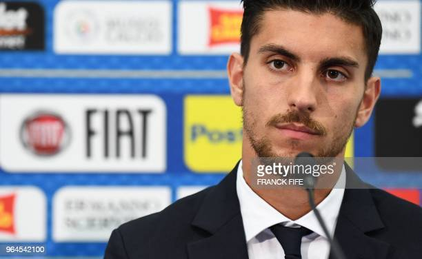 Italy's national football team midfielder Lorenzo Pellegrini attends a press conference at the Allianz Rivieira stadium in Nice on May 31 2018 on the...