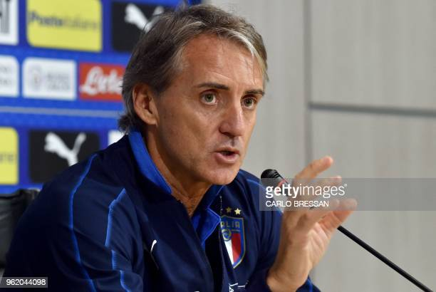 Italy's national football team new coach Roberto Mancini gives a press conference on May 24 2018 at Coverciano's training camp near Florence