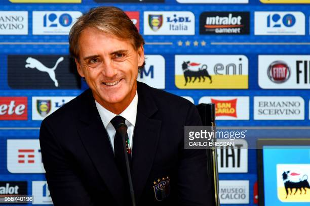 Italy's national football team newly appointed head coach Roberto Mancini gives a press conference on May 15 2018 at the national team's training...