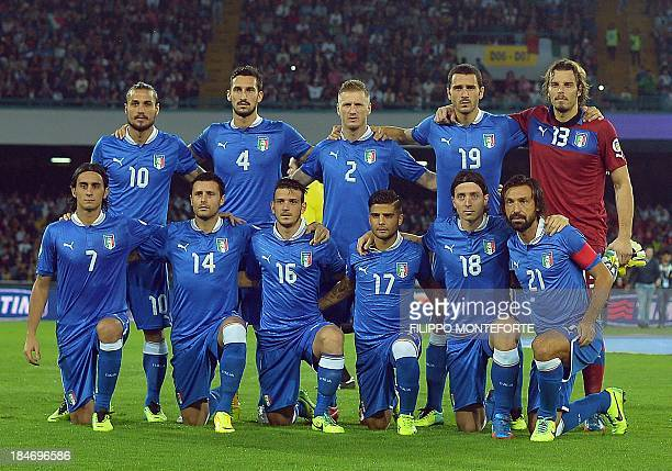 Italy's national football team players pose before the FIFA 2014 World Cup Qualifier football match Italy vs Armenia on October 15 2013 at the San...