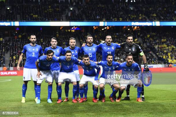 Italy's national football team players pose for photographers prior to kick off the FIFA World Cup 2018 qualification football match between Sweden...