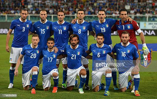 Italy's national football team players pose prior to the FIFA World Cup 2014 qualifying football match Italy vs Bulgaria on September 6 2013 at Renzo...