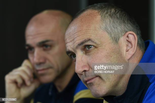 Italy's national rugby team head coach Irish Conor O'Shea gives a press conference in Marseille on February 21 2018 to announce Italy's Six Nations...