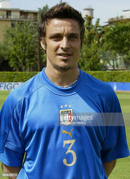 Italy's national soccer team defender Massimo Oddo poses at the Coverciano training camp near Florence 27 May 2004, two weeks before the start of the...